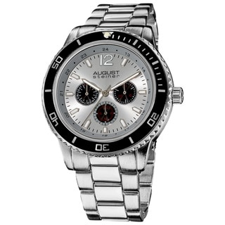 August Steiner Men's Quartz Silvertone Multifunction Divers Bracelet Watch