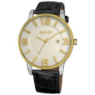 August Steiner Men's Slim Swiss Quartz Date Genuine Leather Strap Silver-Tone Watch