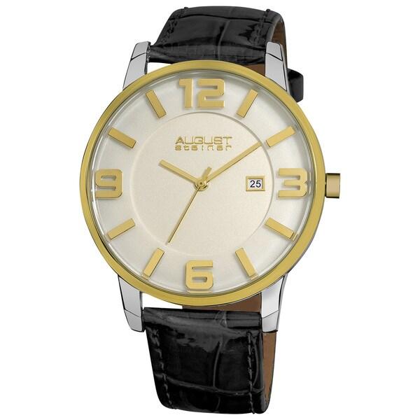 August Steiner Men's Slim Swiss Quartz Date Leather Gold-Tone Strap Silver-Tone Watch