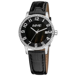 Black August Steiner Women's Swiss Quartz Mother of Pearl Crystal Strap Watch