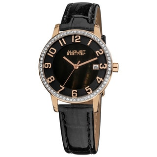 August Steiner Women's Swiss Quartz Mother of Pearl Crystal Strap Watch with Rose-Tone Hands