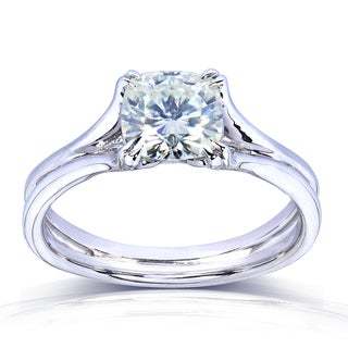Annello 14k Gold Cushion-cut Moissanite Solitaire Split Shank Ring