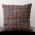 Emily Blue Grey Plaid 22x22-inch Decorative Pillow