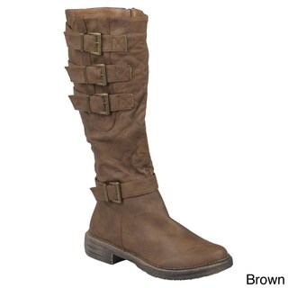 Journee Collection Women's 'Harvey-1' Quilted Top Buckle Detail Boots