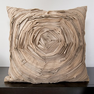 Cailin Tan Rose Ruffle Decorative Down Pillow (18x18)