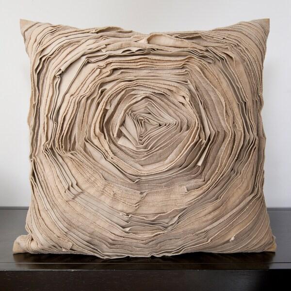 Cailin Tan Rose Ruffle Decorative Down Pillow (18x18)