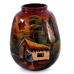 Handcrafted Ceramic 'The Cottage' Vase (Peru)