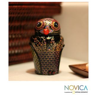 Mango Wood 'Owl and Its Secrets' Lacquered Box (Thailand)