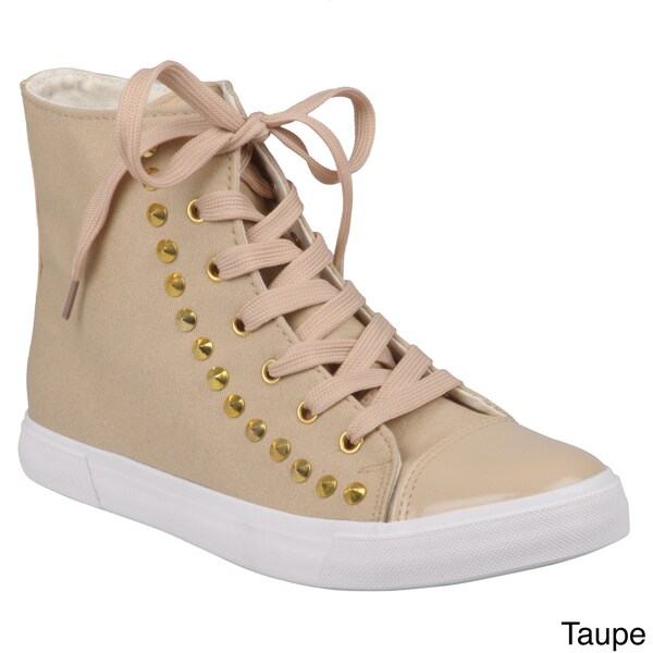 Journee Collection Women's 'Candice-1' Studded High Top Sneakers