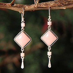 Sterling Silver 'Rose Legacy' Opal and Rose Calcite Earrings (Peru)