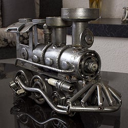 Handcrafted Recycled Auto Part 'Rustic Locomotive' Sculpture (Mexico)