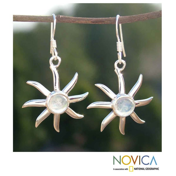 Handcrafted Sterling Silver 'Rainbow Sun' Moonstone Earrings (India)