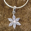 Sterling Silver 'Snow Blossom' Cubic Zirconia Necklace (India)