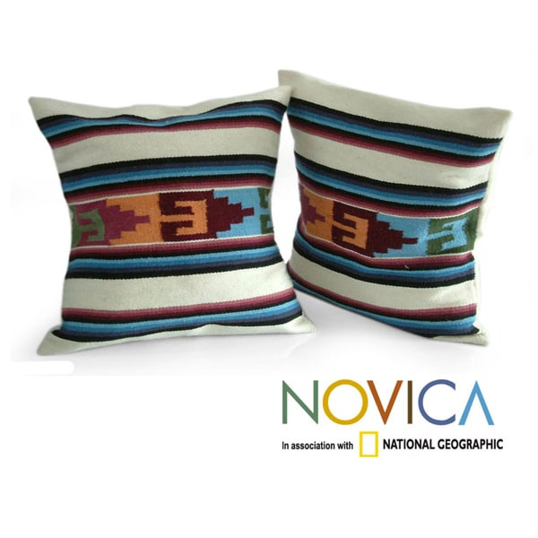 Handcrafted Set of 2 Wool 'Inca Paradise' Cushion Covers (Peru)