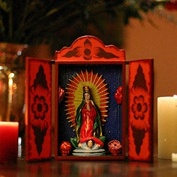 Plywood and Ceramic 'Virgin of Guadalupe' Retablo , Handmade in Peru