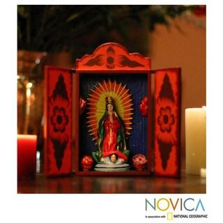 Plywood and Ceramic 'Virgin of Guadalupe' Retablo (Peru)