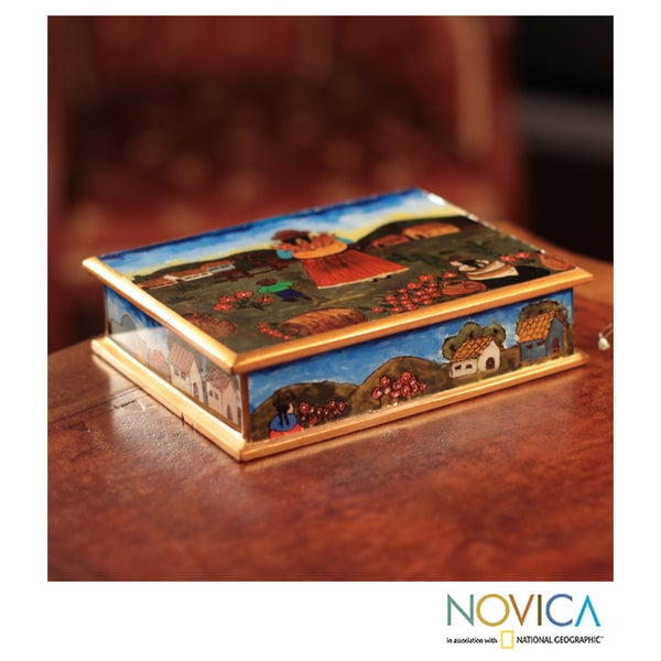 Reverse Painted Glass 'The Mother and the Child' Jewelry Box (Peru)