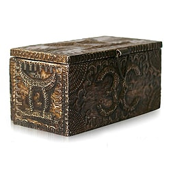 Handcrafted Sese Wood Aluminum 'King's Treasure' Jewelry Box (Ghana)