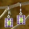 Amethyst and Peridot Dangle Earrings 'Halo' (India)