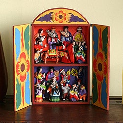 Plywood and Ceramic 'Yawar Fiesta' Retablo (Peru)