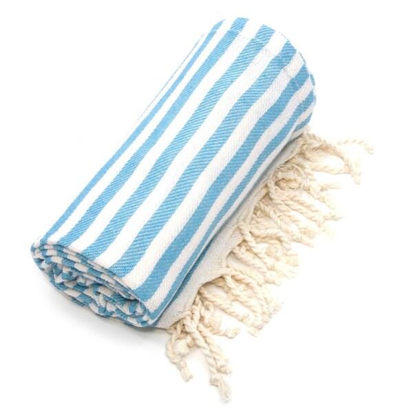 Authentic Pestemal Fouta Turquoise Blue Turkish Cotton Bath/ Beach Towel