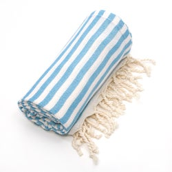 Authentic Pestemal Fouta Turquoise Blue Turkish Cotton Beach Towel