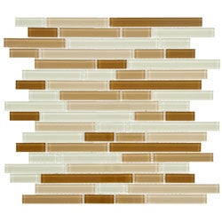 SomerTile 11.75-Inch View Dakar Piano Glass Mosaic Tile (Pack of 17)