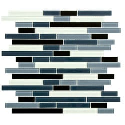 SomerTile 11.75-Inch View Marina Piano Glass Mosaic Tile (Pack of 17)
