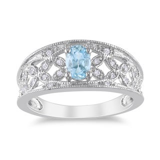 Miadora Silver Aquamarine and 1/10ct TDW Diamond Ring (H-I, I2-I3)