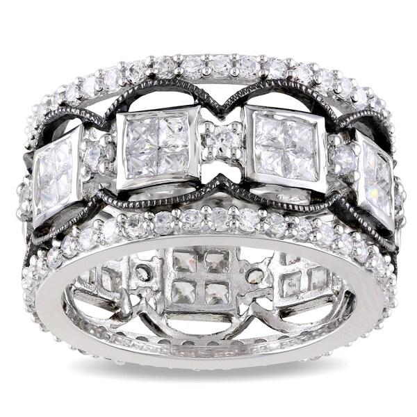 Miadora Sterling Silver White Cubic Zirconia Ring