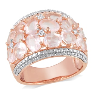 Miadora Sterling Silver Rose Quartz and Diamond Ring