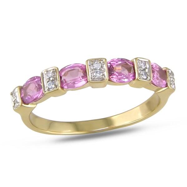 Miadora 14k Yellow Gold Pink Sapphire and Diamond Ring