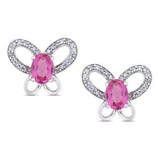 Miadora Signature Collection 14k White Gold Pink Tourmaline and 1/4ct TDW Diamond Earrings (G-H, I1-I2)