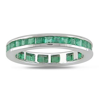 Miadora 14k White Gold Emerald Eternity Ring