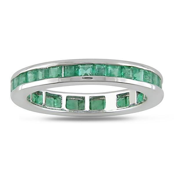 Miadora 14k White Gold Emerald Eternity Ring