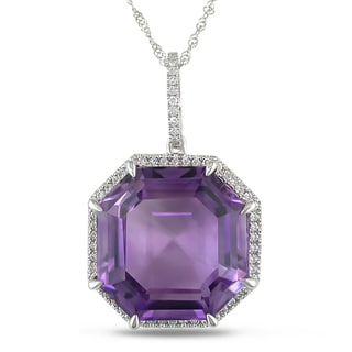 Miadora 14k Gold Amethyst and 1/4ct TDW Diamond Necklace (G-H, SI1-SI2)