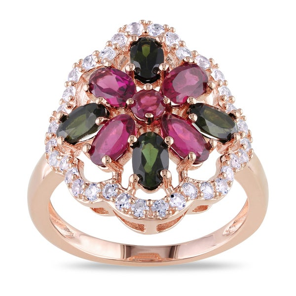 Miadora Rose Goldplated Silver Flower Gemstone Ring