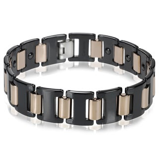 Vance Co. Ceramic Men's Two-tone Link Bracelet