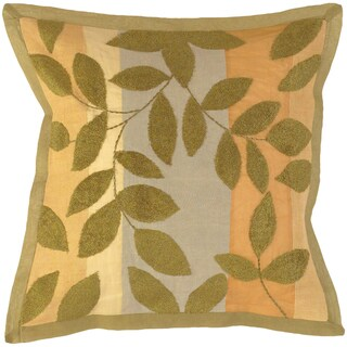 Serenity Olive Floral Leaves 18-inch Decorative Pillow