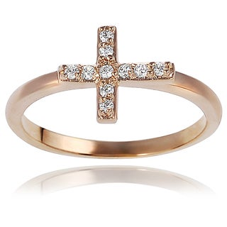 Tressa Collection Goldtone Sterling Silver Cubic Zirconia Cross Ring