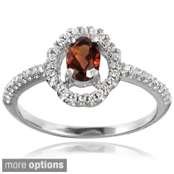 Tressa Sterling Silver CZ Oval Bridal-style Ring