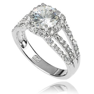 Tressa Collection Sterling Silver White CZ Bridal-style Ring