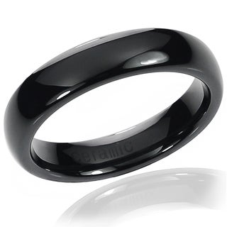Vance Co. Ceramic Men's Black Domed Band (5 mm)