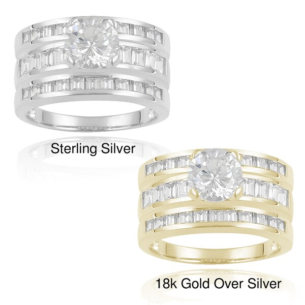 Icz Stonez Sterling Silver 6 1/2ct TGW Cubic Zirconia Bridal Ring Set
