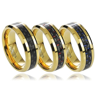 Vance Co. Tungsten Men's Goldplated Carbon Fiber Inlay Band (8 mm)