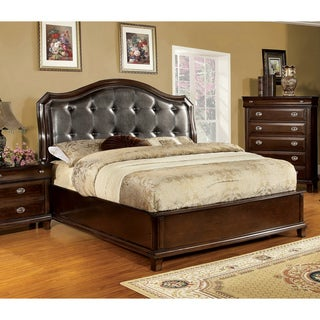 Furniture of America Jayden Crown Leatherette Queen Size Bed