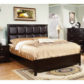 Furniture of America Modern Dark Espresso Leatherette Platform Queen Bed