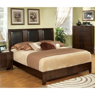 Furniture of America Modern Queen Size Padded Leatherette Bed