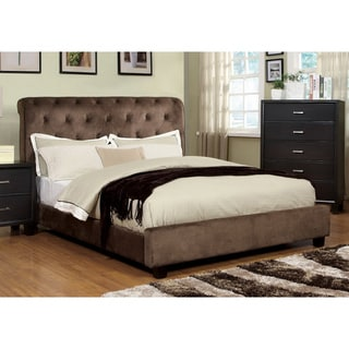 Yani Tufted Modern Dark Brown Velvet Queen Platform Bed