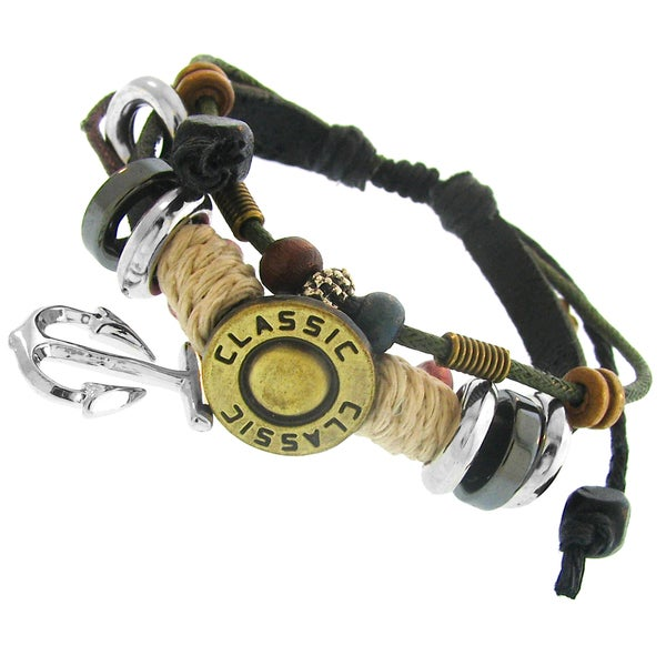 Leather and Cotton Cord Synthetic Bead Adjustable Bracelet